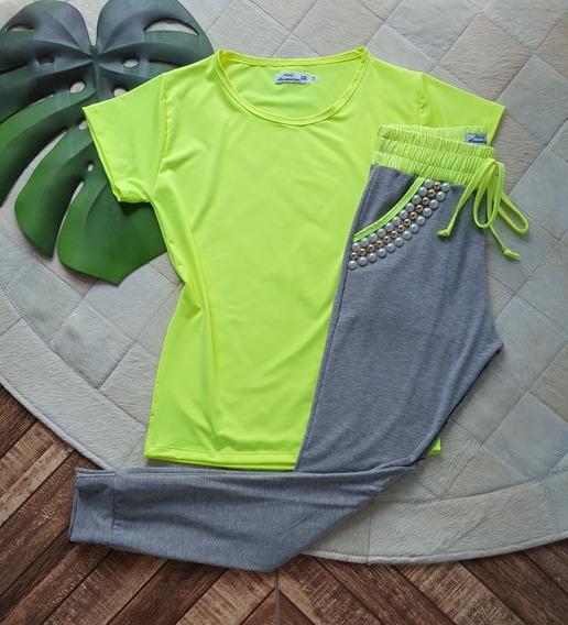 Conjunto Feminino Laranja Neon - Camiseta E Calça Jogger