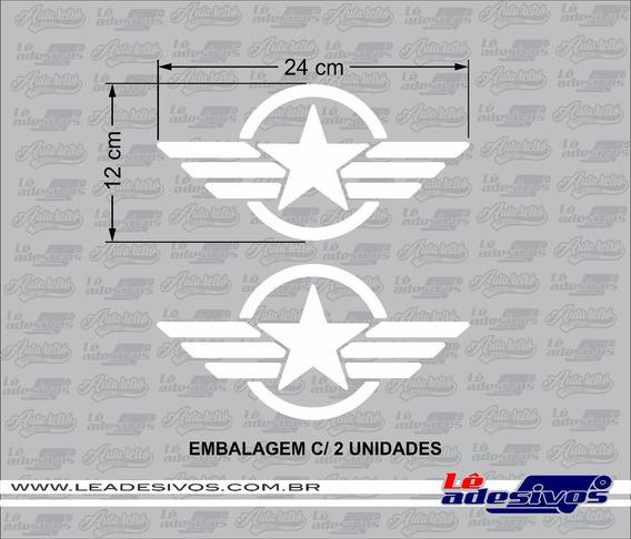 Adesivo Estrela Militar - 24x12cm Jeep / Troller 2unidades