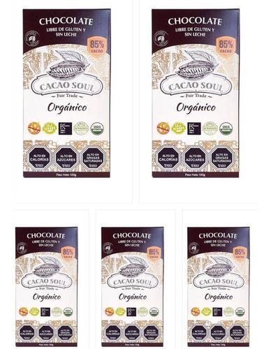 Imagen 1 de 3 de Pack 5 Chocolate Vegano 85% Orgánico Cacao Soul Barra 100g