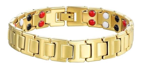 Bracelete Magnético Dourado 12mm Imãs Qualidade Saúde