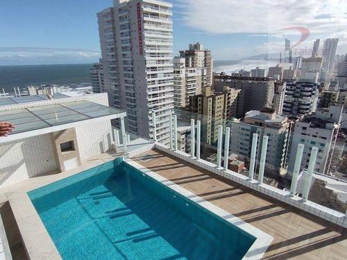 Cobertura Duplex Com 4 Dormitórios 2 Suites Fino Acabamento, Terraço Gourmet Com Piscina E Vista Mar, 283 M² - Canto Do Forte - Praia Grande/sp - Co0030