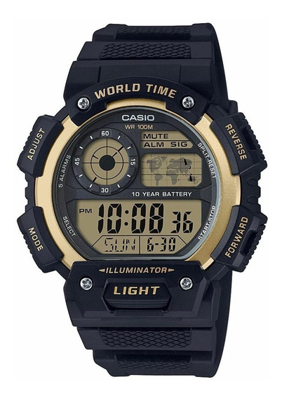 Relogio Casio World Time Ae-1400wh-9av Gold Original