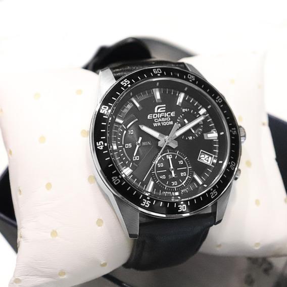 Relógio Casio Edifice Masculino Couro Preto Cronógrafo