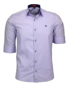 Camisa Casual Slim Golfe 3/4 Luxo Masculino Algodão Original