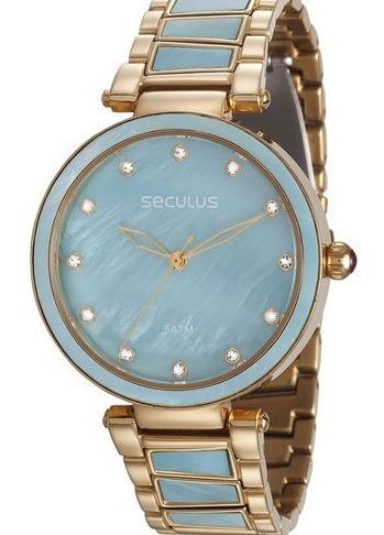 Relógio Pulso Seculus Feminino 20592lpsvds2 Madrepérola Azul