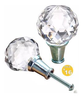X 16 Tiradores Esfera Cristal Facetado 35 Herrajes Mueble