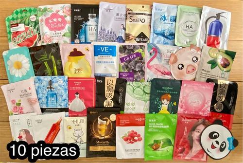 Imagen 1 de 4 de Lote Paquete 10 Mascarillas Coreanas De Tela En Sobre Hidratantes Surtidas