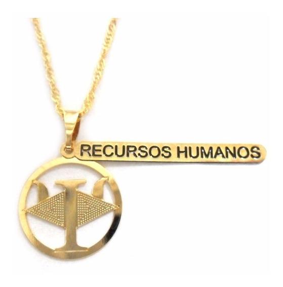 Gargantilha Profissão Rh Recursos Humanos Folheado Ouro 18k