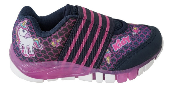 Tenis Infantil Kidy 020-1081 Led - Marinho/pink