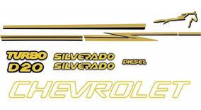 Kit Faixas E Emblemas Adesivos Silverado D20 Resinados 2000/