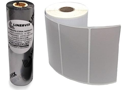 10 Rls Etiqueta 100x50 Mm +5 Ribbon Para Impressoras Térmica