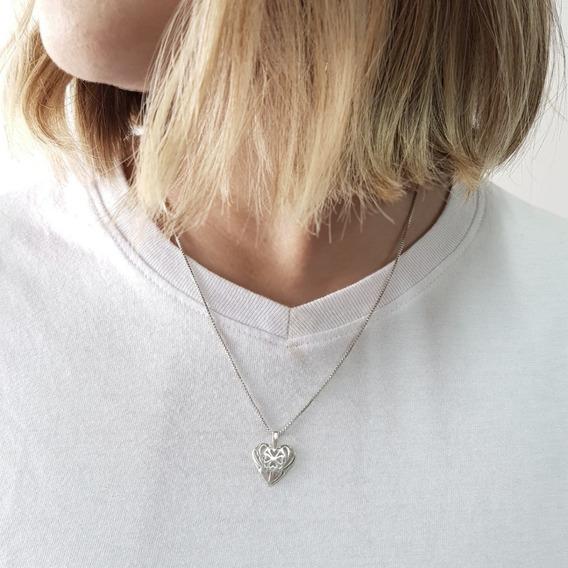 Corrente Prata 925 Feminina Coração Celta Da Sorte