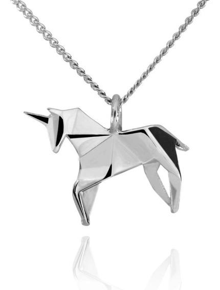 Dije Origami Unicornio De Plata