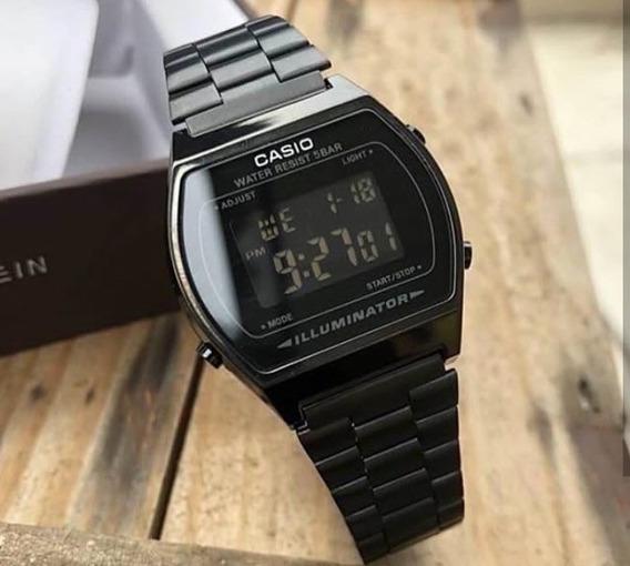 Relógio Feminino Casio Preto B640 Digital Vintage Aço Unisex