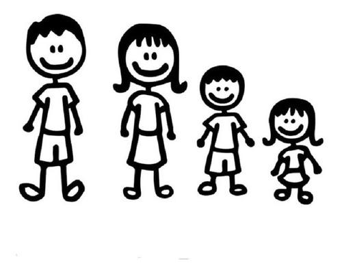 Imagen 1 de 1 de Stikers Vinil Familia Niños A Bordo Auto Cajuela Decorativo