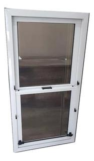 Ventana Guillotina Aluminio Blanco 60 X 110 Con Vidrios