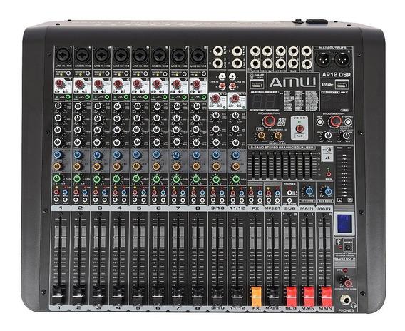 Mesa De Som Amw Custom Ap12 Dsp Pro 12 Canais Mp3 Xlr Bt Rec