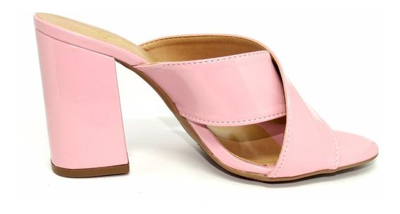 Sandália Mule Salto Alto Rosa Forma Pequena
