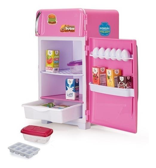 Geladeira De Brinquedo Rosa Com Acessórios Infantil
