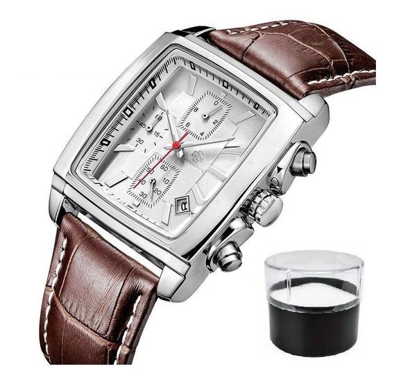 Relógio Original Sihaixin Modelo A10g Com Cronógrafo E Couro