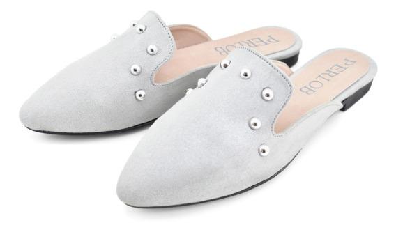 Zapatos De Mujer Perlob Mules Dot Plata-forro De Piel