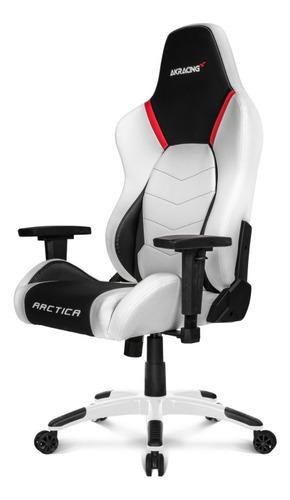 Imagen 1 de 6 de Silla de escritorio Akracing Arctica gamer ergonómica  white, black y red con tapizado de cuero sintético