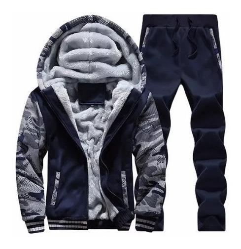 Conjunto Moletom Jaqueta E Calça Kangaroo Militar Frio Zero