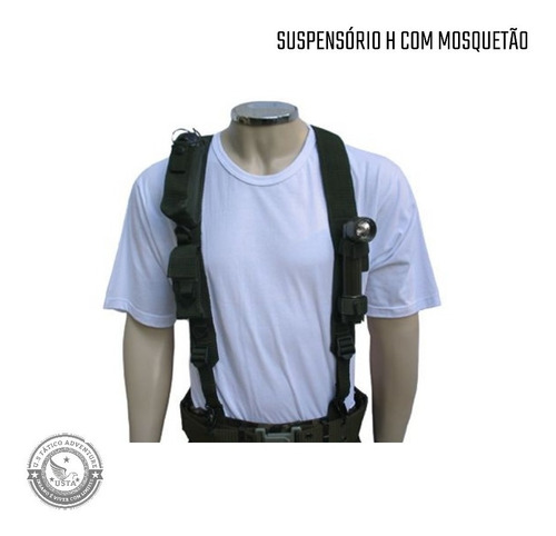 Suspensório H Com Mosquetão Militar Brasil - Verde
