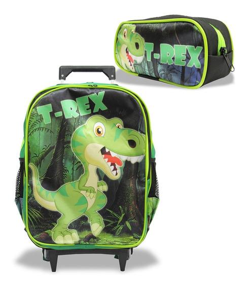 Mochila Escolar Rodinhas Dinossauro T- Rex Tam G + Estojo