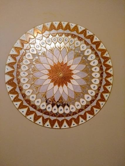 Mandala De Espelho Dourada 0,60 Cm