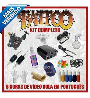 Kit Tatuagem Completo Máquina Nacional Tattoo Profissional