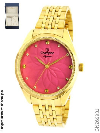 Relogio Feminino Champion Fundo Rose Kit Cn26993j