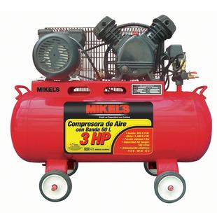 Compresor De Aire Con Banda Mikels 60 Litros 3 Hp - Remate!!