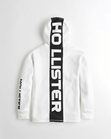 Moletom Masculino Capuz Hollister Branco Preto