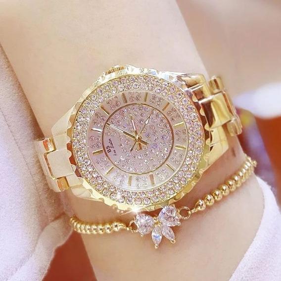 Relógio Bee Sister Feminino Dourado Aço Inoxidável Luxo Gold
