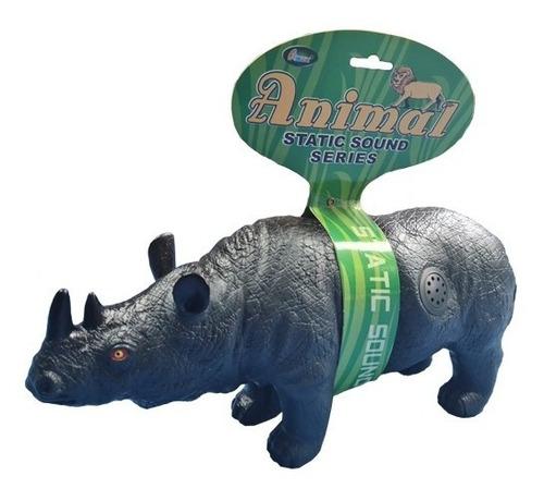 Rinoceronte Animal De Brinquedo Vinil Macio Com Som