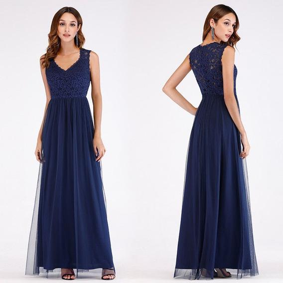 Elegantisimo Vestido Fiesta Largo Azul Importado
