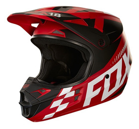 Capacete Fox V1 Sayak - Vermelho/branco Fosco