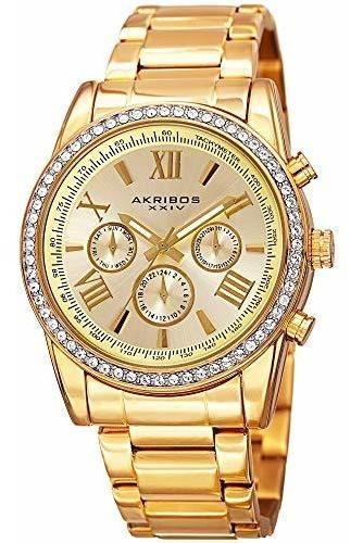 Akribos - Reloj De Pulsera Multifunción De Acero Con Cristal