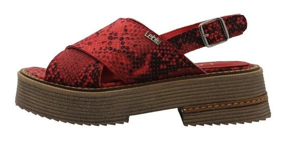 Zapatos Mujer Sandalias Cuero Rojo Bajas Urbanas Leblu 866