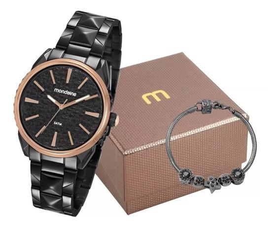 Relógio Feminino Preto Com Semi Jóias