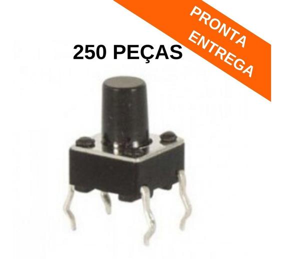 6x6x9 Chave Tactil 180º Graus 4 Terminais 6x6x9.0 (250 Peças