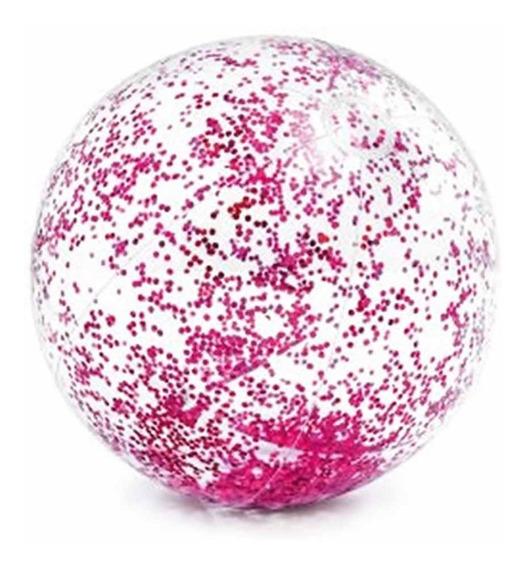 Pelota Inflable Dorada Rosa De Alberca Glitter Playa Intex