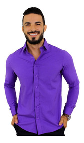 Kit 3 Camisa Social Masculina Slim Fit Longa Barata Promoção