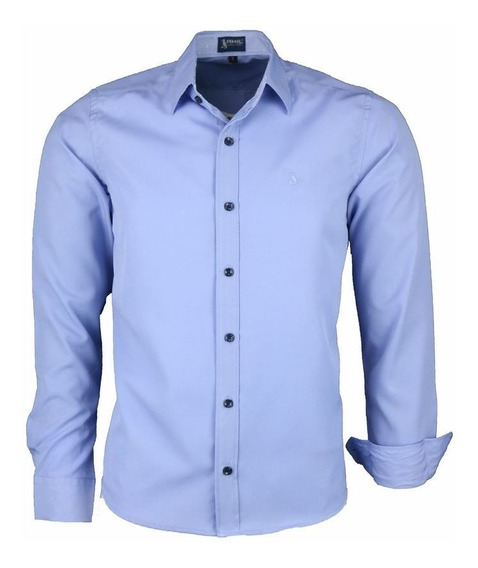 Camisa Dijon Manga Longa Comfort Não Amassa Azul 1581
