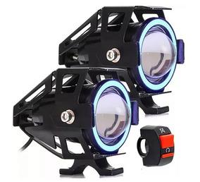 Par Farol Led Angel Eye Auxiliar Moto U7+1 Interruptor