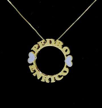 Colar Mandala 2 Nomes Coleção Corações Folheado A Ouro 18k