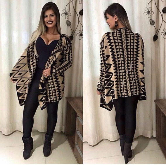 Kimono Étnico De Tricot Lã Blusa Cardigan Inverno