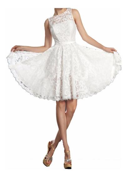 Vestido Noiva Civil Renda Saia Godê Romântico Festa Vr172