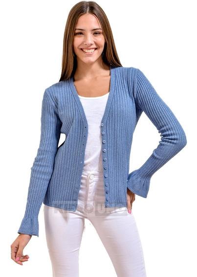 Cárdigan Sweater Fino Mujer Escote En V Botones - Kierouno